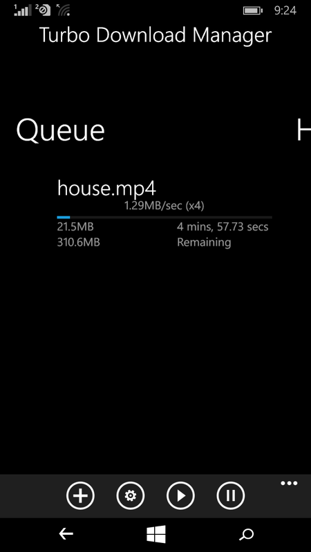 Turbo Download Manager for Windows Phone - Point Blank